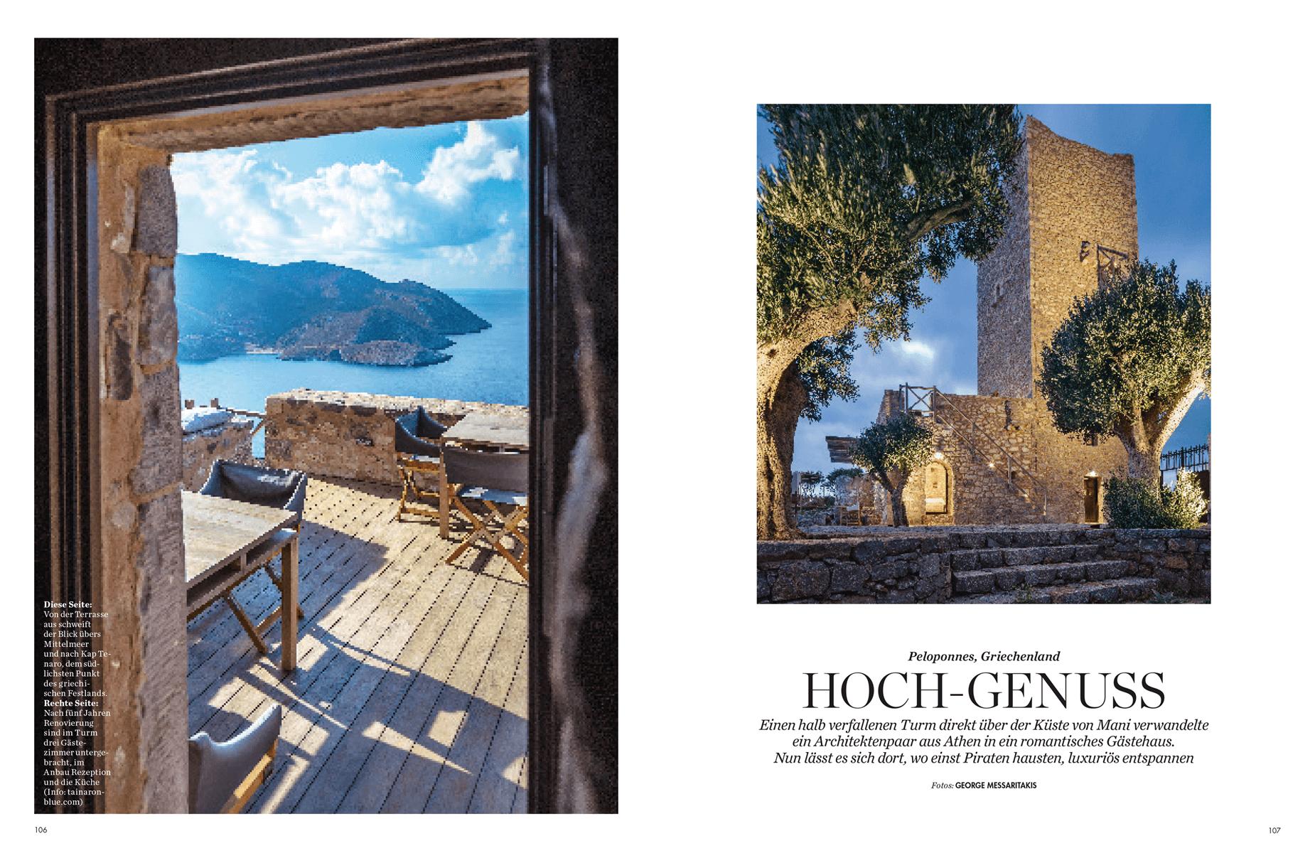 Architektur und Design, Tainaron Blue Retreat an der Küste von Mani, Pelepones, Griechenland, Architekten Kassiani und Kostas Zouvelos